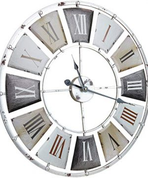 Sorbus Large Decorative Wall Clock Centurion Roman Numeral Hands Vintage Industrial Rustic Farmhouse Style Modern Home Decor Ideal For Living Room Analog Wood Metal Clock 24 Round 0 1 300x360