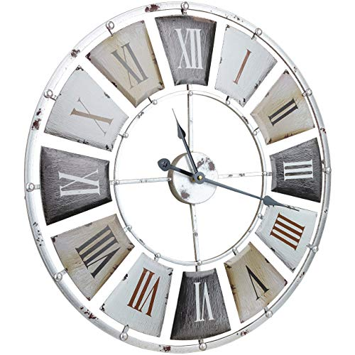 Sorbus Large Decorative Wall Clock Centurion Roman Numeral Hands Vintage Industrial Rustic Farmhouse Style Modern Home Decor Ideal For Living Room Analog Wood Metal Clock 24 Round 0 1