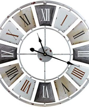 Sorbus Large Decorative Wall Clock Centurion Roman Numeral Hands Vintage Industrial Rustic Farmhouse Style Modern Home Decor Ideal For Living Room Analog Wood Metal Clock 24 Round 0 300x360