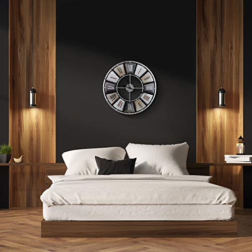 Sorbus Large Decorative Wall Clock Centurion Roman Numeral Hands Vintage Industrial Rustic Farmhouse Style Modern Home Decor Ideal For Living Room Analog Wood Metal Clock 24 Round 0 5