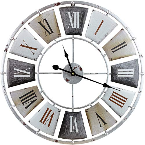 Sorbus Large Decorative Wall Clock Centurion Roman Numeral Hands Vintage Industrial Rustic Farmhouse Style Modern Home Decor Ideal For Living Room Analog Wood Metal Clock 24 Round 0