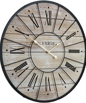Sorbus Paris Oversized Wall Clock Centurion Roman Numeral Hands Parisian French Country Rustic Large Decorative Modern Farmhouse Decor Ideal For Living Room Analog Wood Metal Clock 24 Round 0 1 300x360