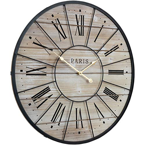 Sorbus Paris Oversized Wall Clock Centurion Roman Numeral Hands Parisian French Country Rustic Large Decorative Modern Farmhouse Decor Ideal For Living Room Analog Wood Metal Clock 24 Round 0 1
