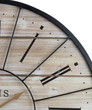 Sorbus Paris Oversized Wall Clock Centurion Roman Numeral Hands Parisian French Country Rustic Large Decorative Modern Farmhouse Decor Ideal For Living Room Analog Wood Metal Clock 24 Round 0 3 300x360