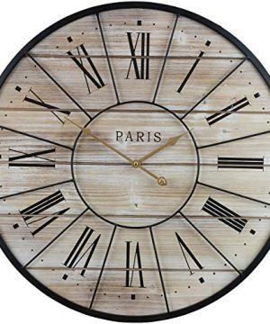 Sorbus Paris Oversized Wall Clock Centurion Roman Numeral Hands Parisian French Country Rustic Large Decorative Modern Farmhouse Decor Ideal For Living Room Analog Wood Metal Clock 24 Round 0 300x360