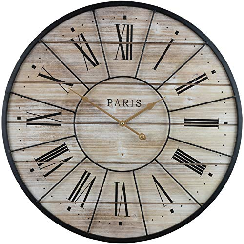 Sorbus Paris Oversized Wall Clock Centurion Roman Numeral Hands Parisian French Country Rustic Large Decorative Modern Farmhouse Decor Ideal For Living Room Analog Wood Metal Clock 24 Round 0