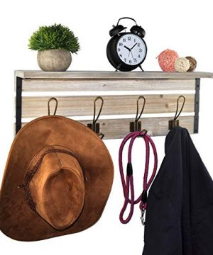 Spiretro 236 Inch Wall Mounted Coat Rack With Shelf Rustic Torched Wood Bracket With 4 Metal Hooks To Hang Organize Decorate For Entryway Hallway Mudroom Kitchen Bathroom Farmhouse Grey 0 1 300x360