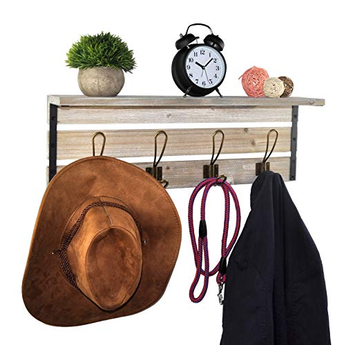 Spiretro 236 Inch Wall Mounted Coat Rack With Shelf Rustic Torched Wood Bracket With 4 Metal Hooks To Hang Organize Decorate For Entryway Hallway Mudroom Kitchen Bathroom Farmhouse Grey 0 1