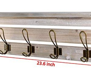 Spiretro 236 Inch Wall Mounted Coat Rack With Shelf Rustic Torched Wood Bracket With 4 Metal Hooks To Hang Organize Decorate For Entryway Hallway Mudroom Kitchen Bathroom Farmhouse Grey 0 4 300x236