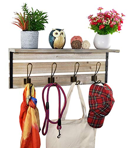Spiretro 236 Inch Wall Mounted Coat Rack With Shelf Rustic Torched Wood Bracket With 4 Metal Hooks To Hang Organize Decorate For Entryway Hallway Mudroom Kitchen Bathroom Farmhouse Grey 0