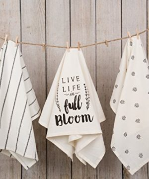 Sticky Toffee Cotton Flour Sack Kitchen Towels Live Life Stripe And Flower Prints 3 Pack 28 In X 29 In 0 0 300x360
