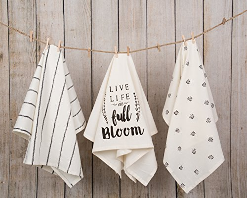 Sticky Toffee Cotton Flour Sack Kitchen Towels Live Life Stripe And Flower Prints 3 Pack 28 In X 29 In 0 0