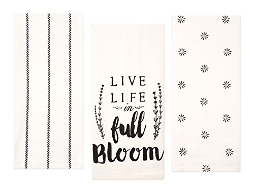 Sticky Toffee Cotton Flour Sack Kitchen Towels Live Life Stripe And Flower Prints 3 Pack 28 In X 29 In 0