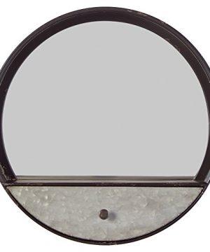 Stone Beam Contemporary Metal Storage Mirror 153H Black With Galvanized Finish 0 300x360