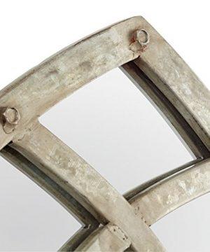 Stone Beam Modern Arc Metal Frame Hanging Wall Mirror Decor 4625 Inch Height Silver Finish 0 1 300x360