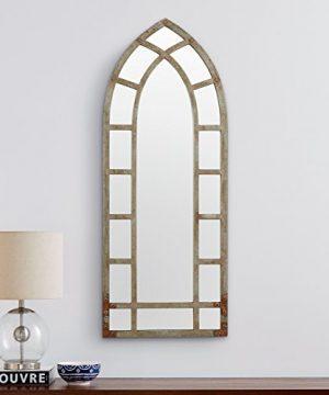 Stone Beam Modern Arc Metal Frame Hanging Wall Mirror Decor 4625 Inch Height Silver Finish 0 2 300x360