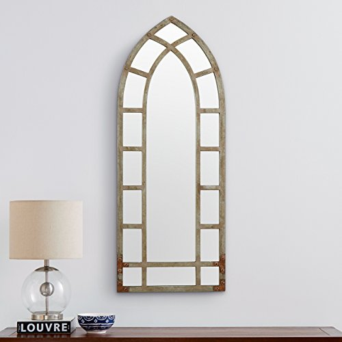 Stone Beam Modern Arc Metal Frame Hanging Wall Mirror Decor 4625 Inch Height Silver Finish 0 2