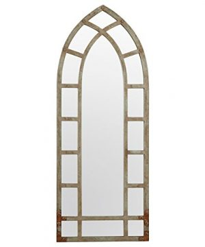 Stone Beam Modern Arc Metal Frame Hanging Wall Mirror Decor 4625 Inch Height Silver Finish 0 300x360
