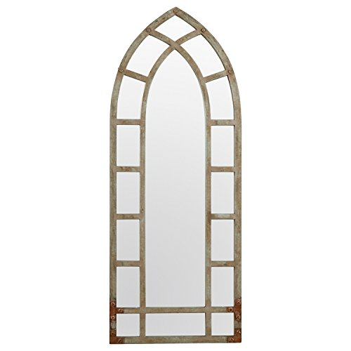 Stone Beam Modern Arc Metal Frame Hanging Wall Mirror Decor 4625 Inch Height Silver Finish 0