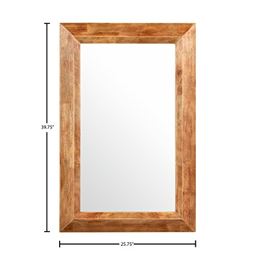 Stone Beam Rustic Wood Frame Hanging Wall Mirror 3975 Inch Height Natural 0 0