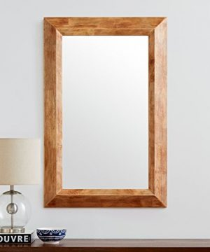 Stone Beam Rustic Wood Frame Hanging Wall Mirror 3975 Inch Height Natural 0 2 300x360