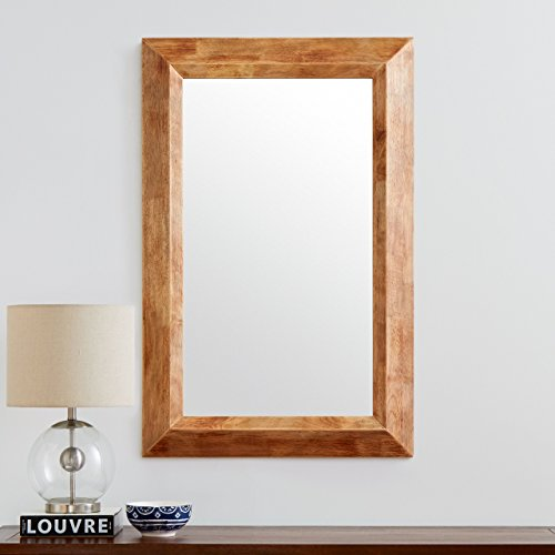 Stone Beam Rustic Wood Frame Hanging Wall Mirror 3975 Inch Height Natural 0 2