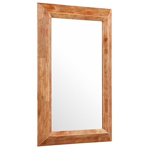 Stone Beam Rustic Wood Frame Hanging Wall Mirror 3975 Inch Height Natural 0