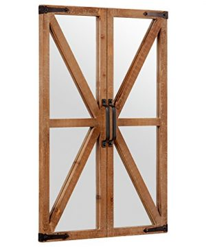 Stone Beam Rustic Wood And Iron Barn Door Hanging Wall Mirror Decor 30 Inch Height Natural 0 0 300x360