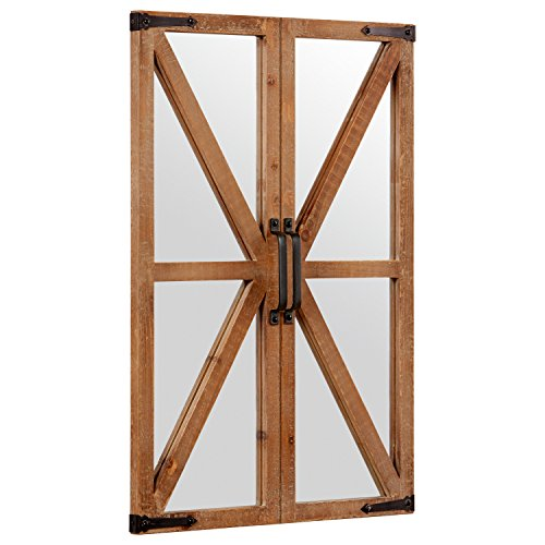 Stone Beam Rustic Wood And Iron Barn Door Hanging Wall Mirror Decor 30 Inch Height Natural 0 0