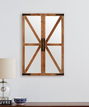 Stone Beam Rustic Wood And Iron Barn Door Hanging Wall Mirror Decor 30 Inch Height Natural 0 2 300x360