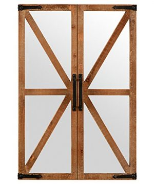 Stone Beam Rustic Wood And Iron Barn Door Hanging Wall Mirror Decor 30 Inch Height Natural 0 300x360