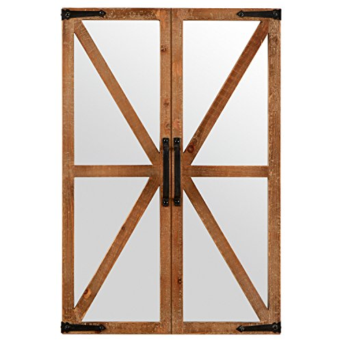 Stone Beam Rustic Wood And Iron Barn Door Hanging Wall Mirror Decor 30 Inch Height Natural 0
