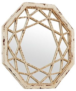 Stone Beam Vintage Look Octagonal Hanging Wall Mirror Decor 255 Inch Height Antique White 0 0 300x360