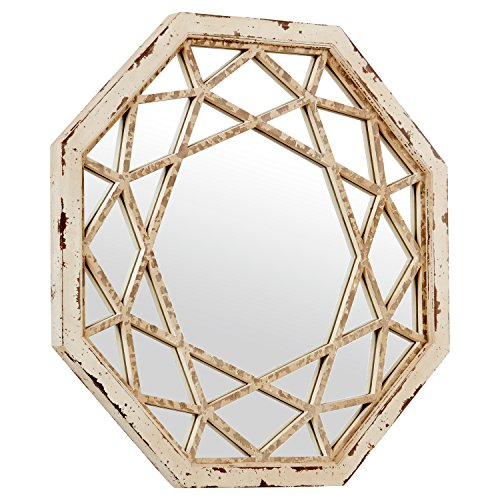 Stone Beam Vintage Look Octagonal Hanging Wall Mirror Decor 255 Inch Height Antique White 0 0