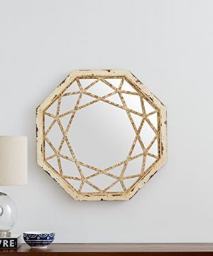 Stone Beam Vintage Look Octagonal Hanging Wall Mirror Decor 255 Inch Height Antique White 0 2 300x360