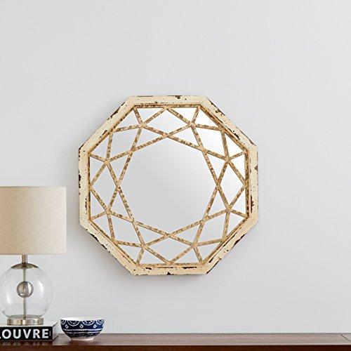 Stone Beam Vintage Look Octagonal Hanging Wall Mirror Decor 255 Inch Height Antique White 0 2