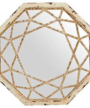 Stone Beam Vintage Look Octagonal Hanging Wall Mirror Decor 255 Inch Height Antique White 0 300x360