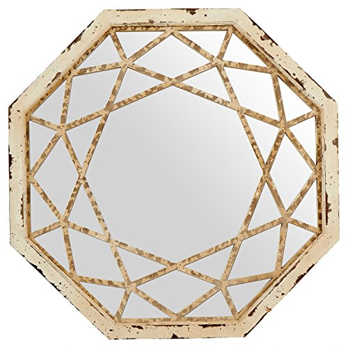 Stone Beam Vintage Look Octagonal Hanging Wall Mirror Decor 255 Inch Height Antique White 0