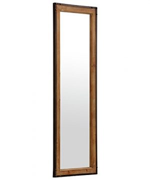 Stone Beam Wood And Iron Hanging Wall Mirror 4225 Height Natural Wood And Black 0 0 300x360