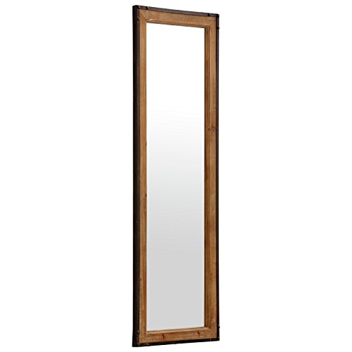 Stone Beam Wood And Iron Hanging Wall Mirror 4225 Height Natural Wood And Black 0 0