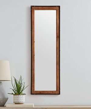 Stone Beam Wood And Iron Hanging Wall Mirror 4225 Height Natural Wood And Black 0 2 300x360