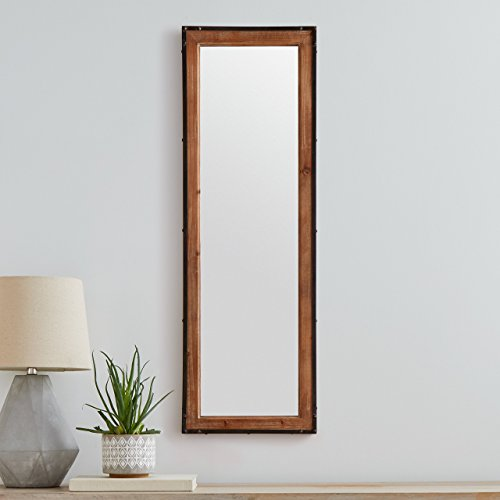 Stone Beam Wood And Iron Hanging Wall Mirror 4225 Height Natural Wood And Black 0 2