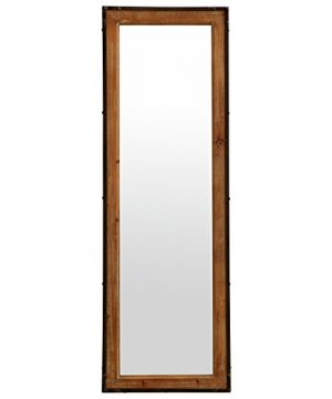Stone Beam Wood And Iron Hanging Wall Mirror 4225 Height Natural Wood And Black 0 300x360