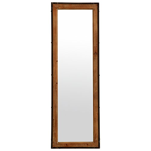 Stone Beam Wood And Iron Hanging Wall Mirror 4225 Height Natural Wood And Black 0