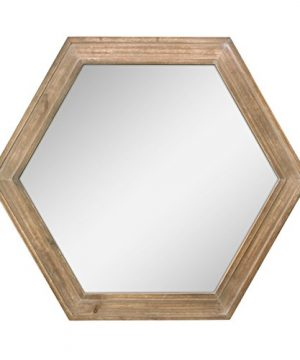 Stonebriar Decorative 24 Hexagon Hanging Wall Mirror With Natural Wood Frame And Attached Hanging Bracket Rustic Farmhouse Decor For The Living Room Bathroom Bedroom And Entryway 0 300x360
