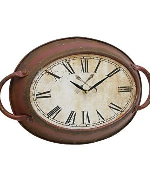 Stonebriar High Plains Red Rust Metal Oval Wall Clock 0 300x360