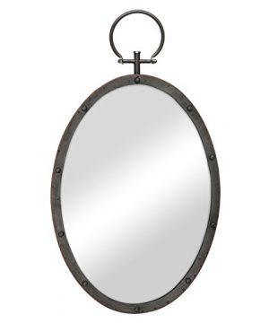 Stonebriar Oval Rustic Bronze Metal Mirror With Rivet Detail Hanging Ring For Wall Industrial Home Dcor 0 300x360