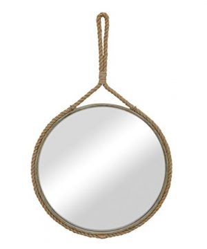 Stonebriar Round Decorative Mirror With Metal Frame Rope Hanging Loop For Wall Nautical Or Farmhouse Home Dcor 0 300x360