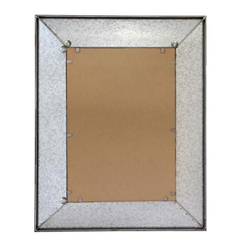 Stonebriar Rustic Rectangular Galvanized Metal Frame Hanging Wall Mirror Silver 0 1