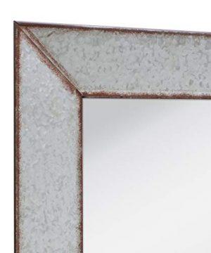 Stonebriar Rustic Rectangular Galvanized Metal Frame Hanging Wall Mirror Silver 0 2 300x360